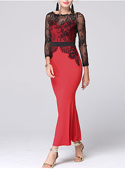 Off Shoulder  Patchwork  Color Block Lace  Polyester Maxi Dress