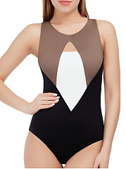 Round Neck  Backless Cutout Patchwork  Color Block One Piece Swimwear