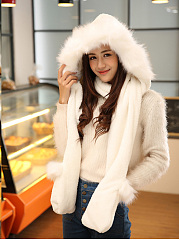 Faux Fur Fleece Winter Warm Scarf And Hat