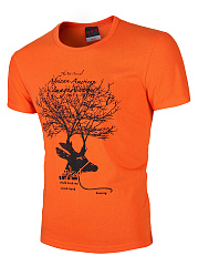 Men-Round-Neck-Tree-Letters-Printed-T-Shirt