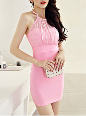Alluring Halter Beading Hollow Out Plain Mini Bodycon Dress