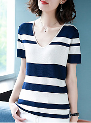 Knit  V-Neck  Striped  Short Sleeve Short Sleeve T-Shirts