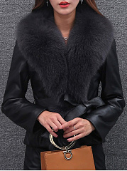 Faux Fur Collar  Slit Pocket  Belt  Plain  Long Sleeve Coats