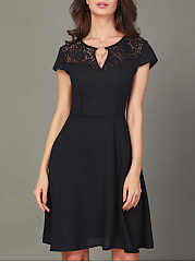 Round Neck Keyhole Plain Decorative Hardware Skater Dress