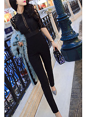 Cutout Decorative Lace  Plain  Jumpsuits