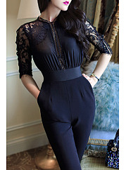 Cutout-Decorative-Lace-Plain-Jumpsuits