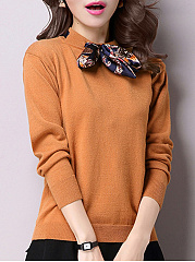 Round Neck  Bowknot  Plain Knit Pullover