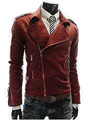 Men-PU-Leather-Lapel-Zips-Plain-Biker-Jacket
