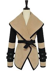 Lapel-Belt-Color-Block-Woolen-Wrap-Coat