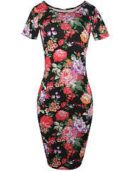 Round-Neck-Floral-Printed-Delicate-Bodycon-Dress