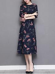 Women-Printed-Elastic-Waist-Chiffon-Maxi-Dress