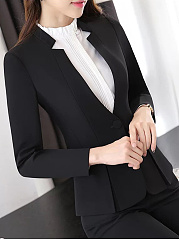 Collarless Vented Single Button Plain Blazer
