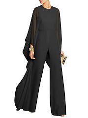 Solid-Cape-Sleeve-Hollow-Out-Chiffon-Wide-Leg-Jumpsuit