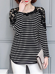 Round Neck  Cutout Decorative Lace  Striped Long Sleeve T-Shirts
