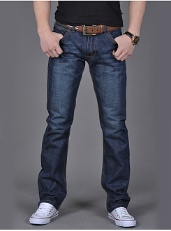 Flap Pocket Light Wash Straight Mens Jeans