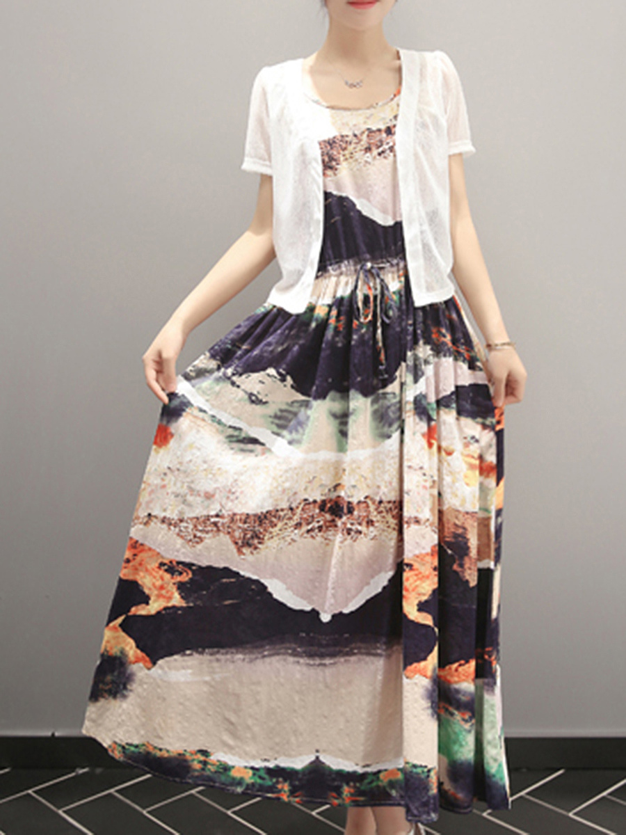 Flared Drawstring Printed Two-Piece Maxi Dress