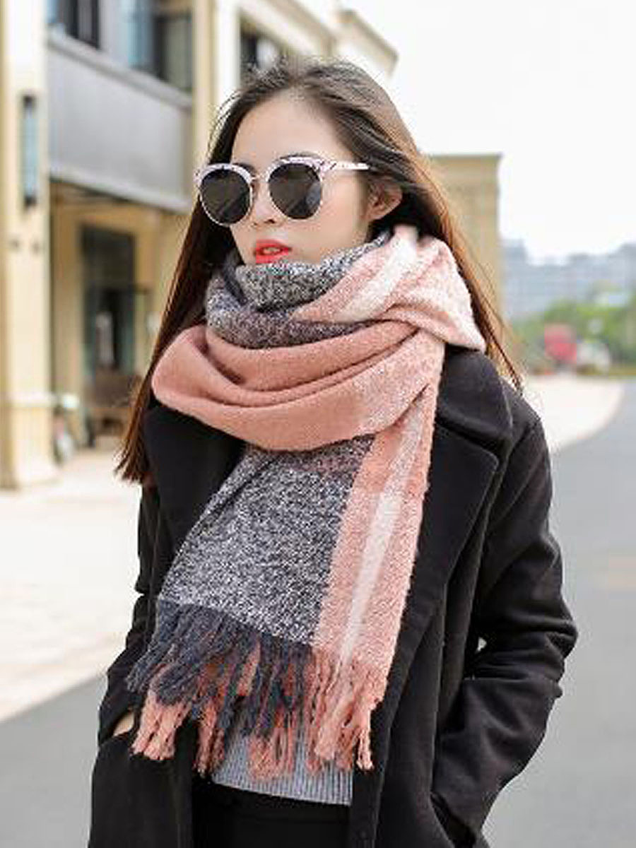 Winter Warm Acrylic Plaid Scarf