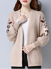 V Neck  Embroidered  Embroidery  Lantern Sleeve Knit Cardigans