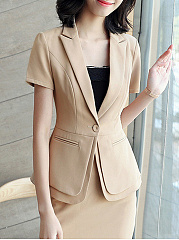 Notch Lapel  Curved Hem Single Button  Plain  Short Sleeve Blazers