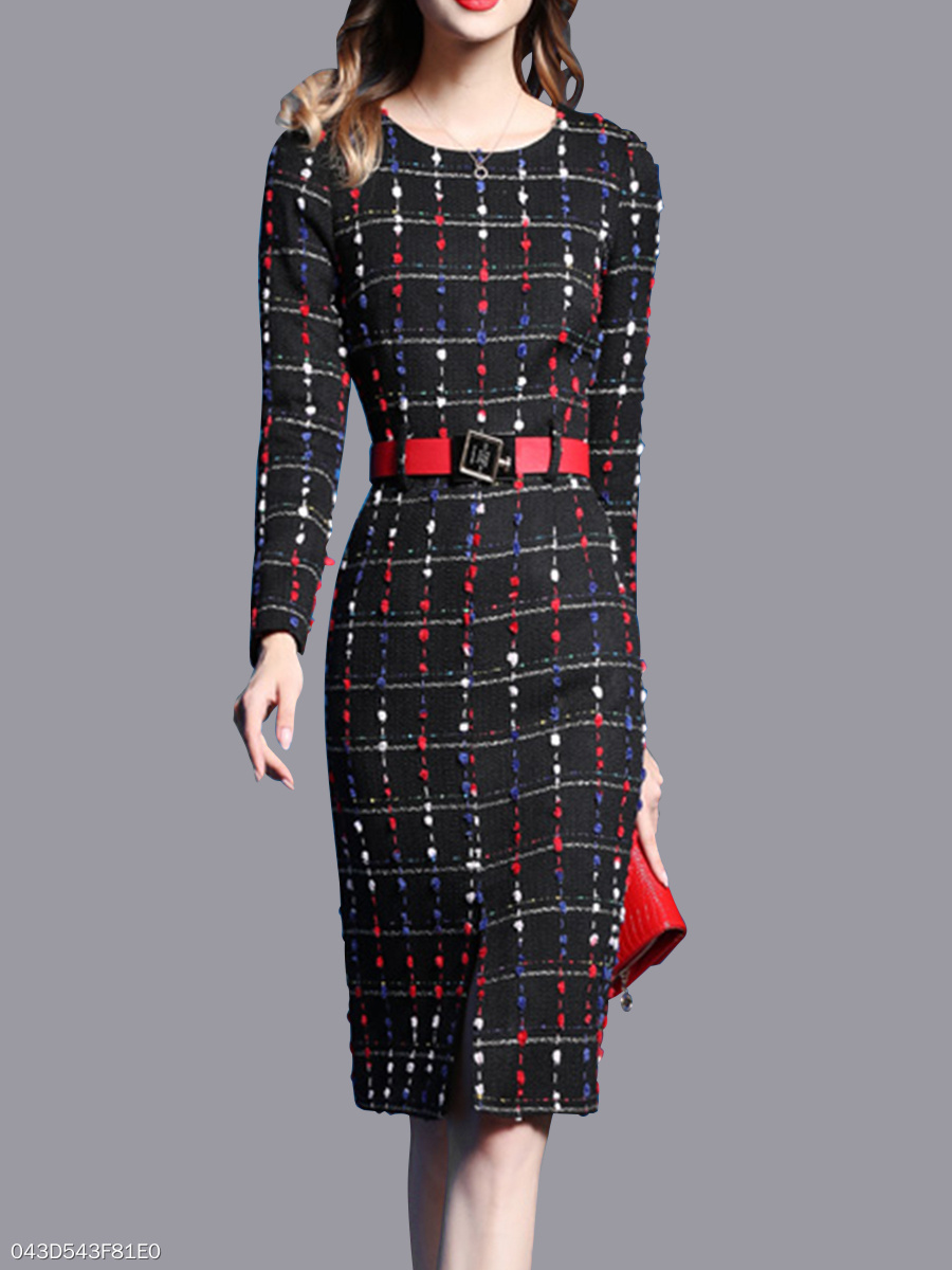 Crew Neck  Plaid  Blend Bodycon Dress