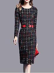 Crew-Neck-Plaid-Blend-Bodycon-Dress