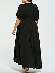 V-Neck  Asymmetric Hem Ruched  Plain Plus Size Midi & Maxi Dress