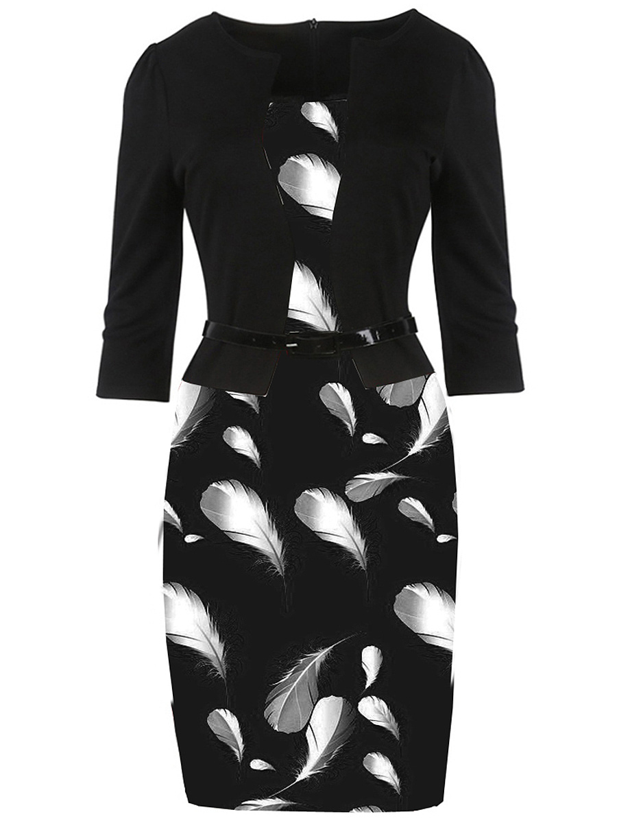 Elegant Feather Printed Belt Bodycon Dress