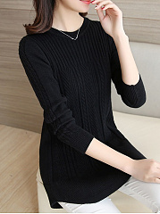 Round Neck  Curved Hem  Embossed Plain Pullover