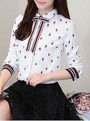 Autumn Spring  Polyester  Women  Turn Down Collar  Bowknot  Floral Printed  Long Sleeve Blouses