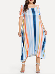 Round Neck  TieDye Plus Size Midi  Maxi Dress