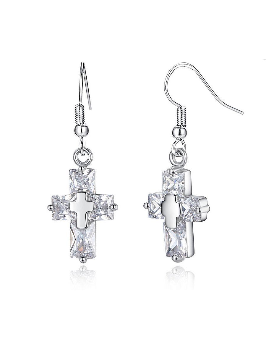 Alloy Chain Cross Pendant Earring