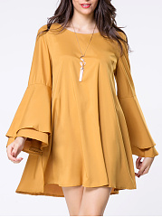 Round-Neck-Lace-Up-Plain-Bell-Sleeve-Shift-Dress