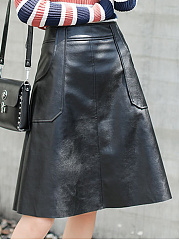 Black-Patch-Pocket-PU-Leather-A-Line-Midi-Skirt