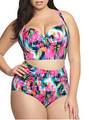 Abstract Print Plus Size Swimwear