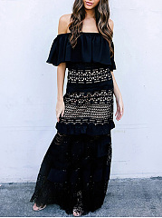 Off Shoulder  Lace Plain Maxi Dress