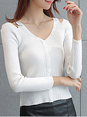 Open Shoulder  Single Breasted  Plain  Long Sleeve Sweaters Pullover