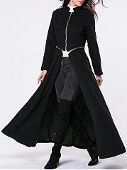 Band-Collar-Zips-Snap-Front-Plain-Duster-Coat