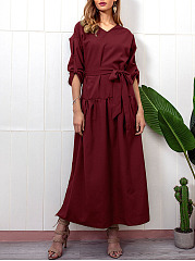 V-Neck  Side Slit  Belt  Plain Maxi Dress
