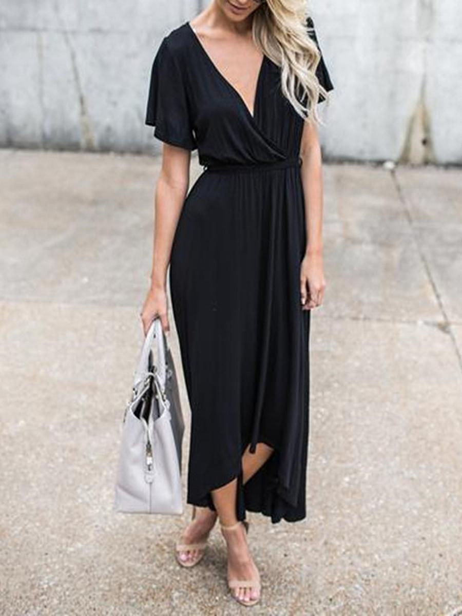 Surplice  Elastic Waist  Plain Maxi Dress