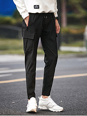 Flap-Pocket-Plain-Slim-Leg-Mens-Casual-Pants