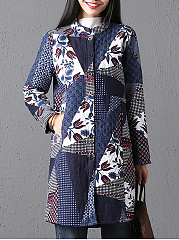 Collarless-Single-Breasted-Printed-Long-Sleeve-Trench-Coats