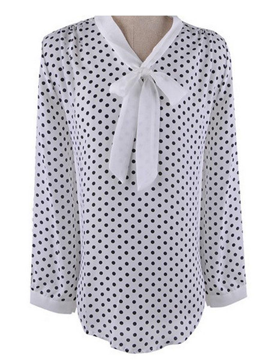 Tie Collar  Polka Dot  Long Sleeve Blouses