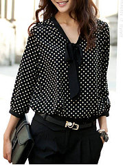 Spring Summer  Chiffon  Women  Tie Collar  Polka Dot  Long Sleeve Blouses
