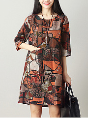 Spring-Summer-CottonLinen-Round-Neck-Printed-Shift-Dress