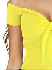 Spring Summer  Women  Open Shoulder  Bowknot  Plain Short Sleeve T-Shirts