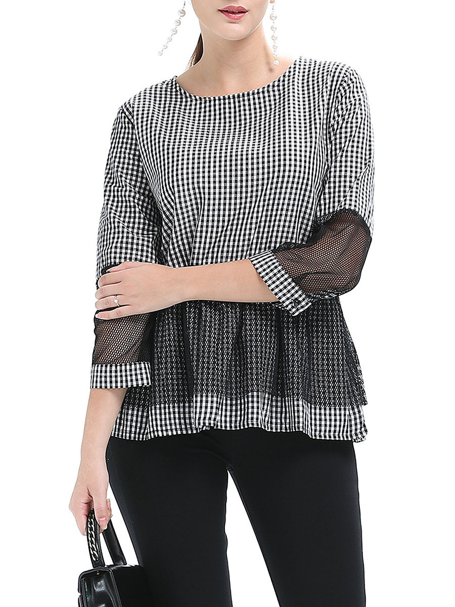 Round Neck Plaid Hollow Out Long Sleeve T-Shirt