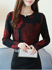 Round-Neck-Floral-Print-Long-Sleeve-T-Shirts