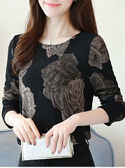 Round Neck  Floral Print Long Sleeve T-Shirts