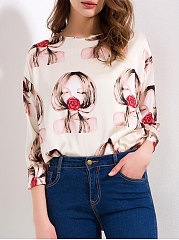 Autumn Spring  Polyester  Women  Round Neck  Zips  Printed  Long Sleeve Blouses