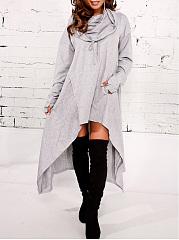 Hooded-Plain-High-Low-Kangaroo-Pocket-Maxi-Dress